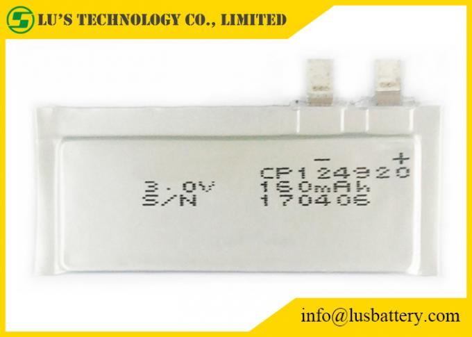 CP124920 160mAh 3.0V Ultra Thin Lithium Ion Battery For Remote Monitoring Systems