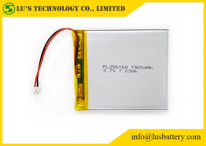 356168 3.7 Volt Lipo Battery , 3.7 V 1900mah Battery With Wires / Connector