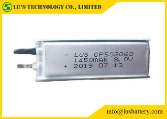 China Soft Packed Primary Lithium Battery , 3.0V 1450mAh Ultra Thin Cell Cp502060 supplier