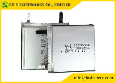 China Non Rechargeable 3.0 V Lithium Battery , CP505050 3000mah Limno2 Battery Thin Cell distributor
